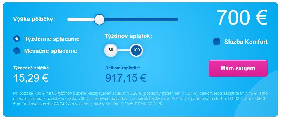 Vypočítajte si prostredníctvom online kalkulačky výšku splátky, RPMN, úroky atď.